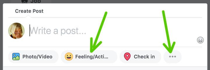 Crea una publicación de Facebook con un sentimiento o una actividad.