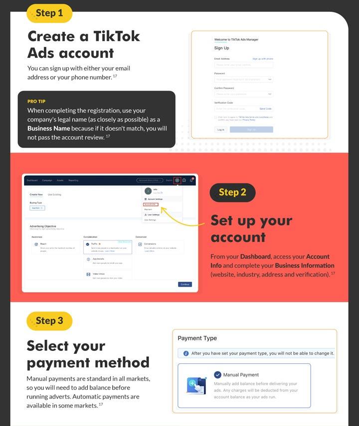 screenshot of how to setup your tiktok ads account.