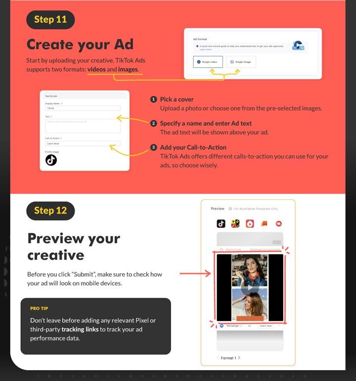 screenshot showing how to create your tiktok ad creative.