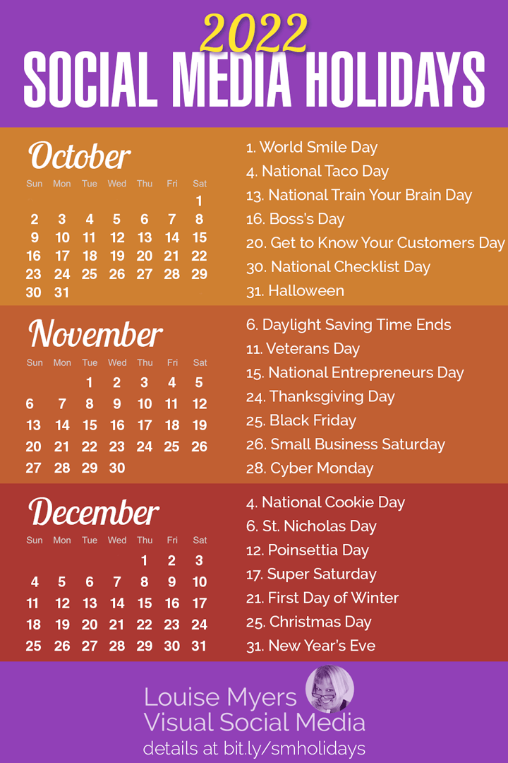 The BEST social media holidays for autumn 2022 infographic