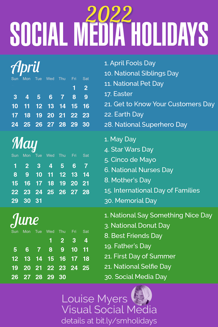 The BEST social media holidays for spring 2022 infographic