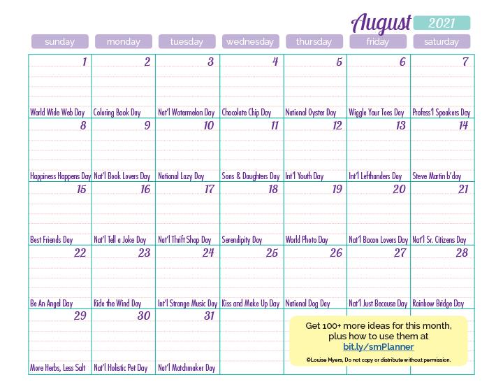 August 2021 content ideas calendar