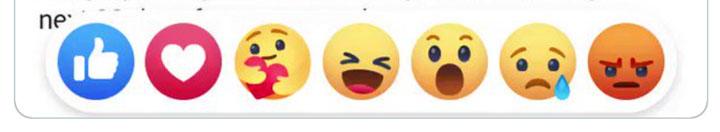 Captura de pantalla de las reacciones de Facebook, incluida la reacción de atención.