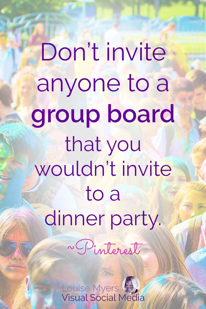 colorful crowd on Pinterest quote image about group boards.