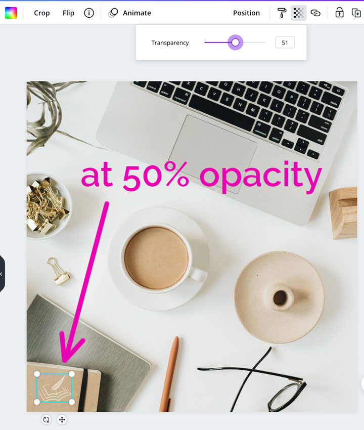 how to adjust opacity of watermark icon in canva.