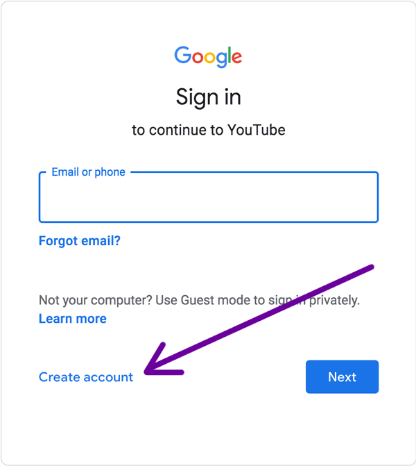 where to create a google account for youtube.