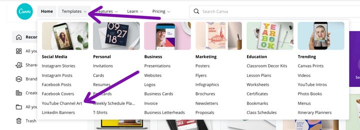how to find YouTube Channel Art templates in Canva by menu.