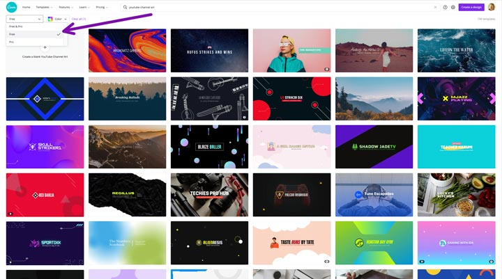show only free templates to create a free YouTube banner in canva.