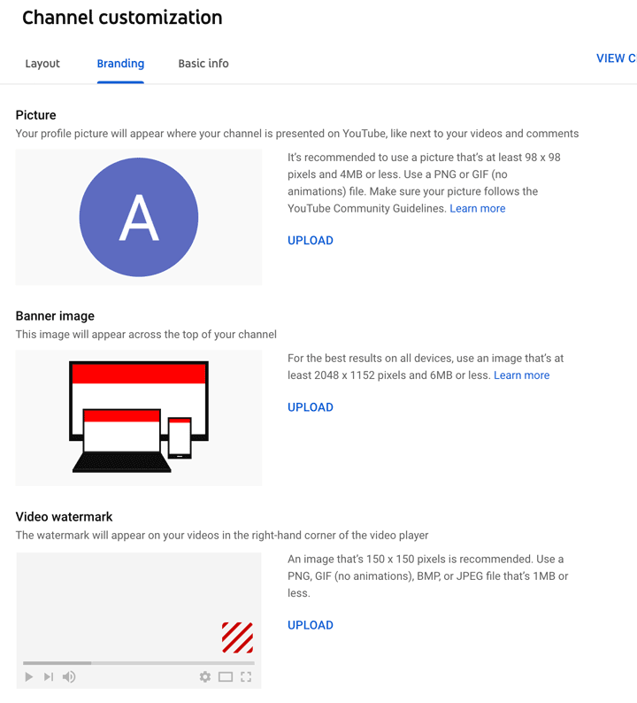 where to add branding when customizing your youtube channel.