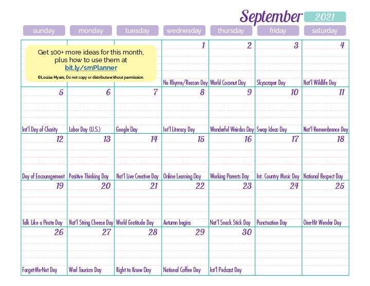 September 2020 marketing calendar