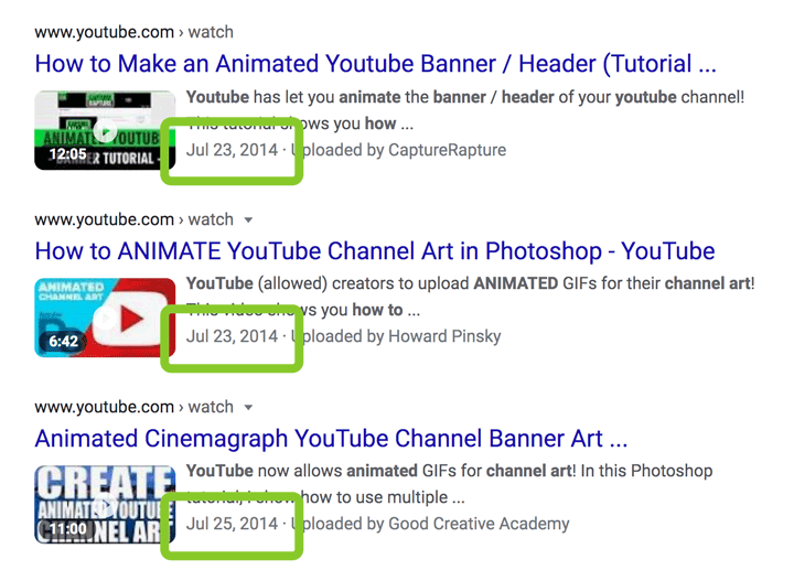 screenshot of old videos showing how to make Animated YouTube banner art.