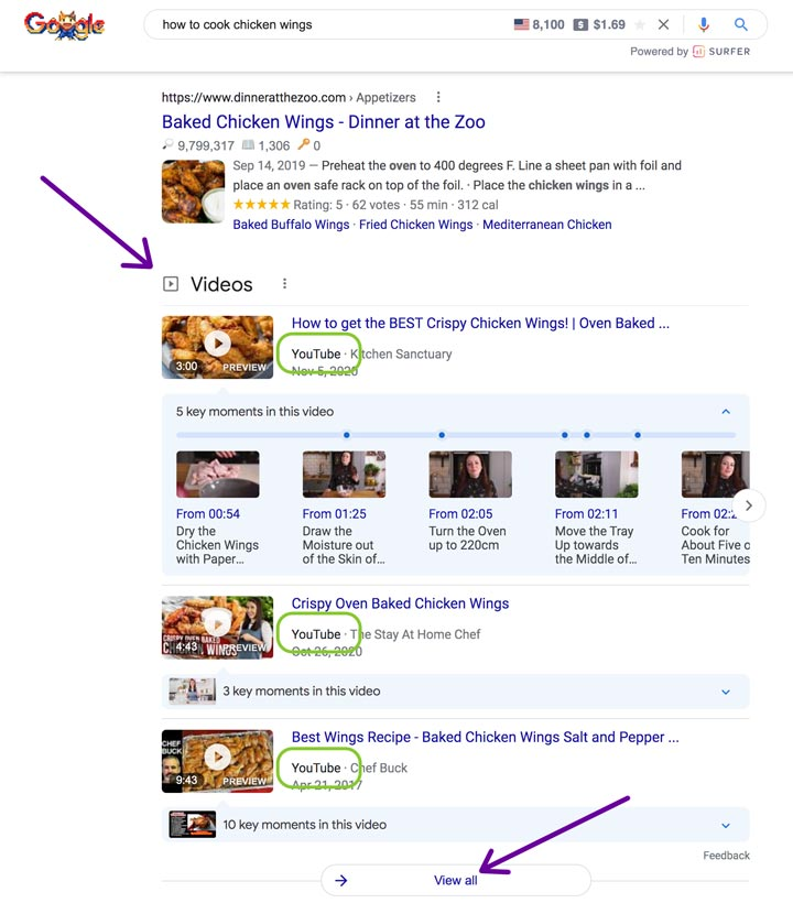 google search results often feature youtube videos.