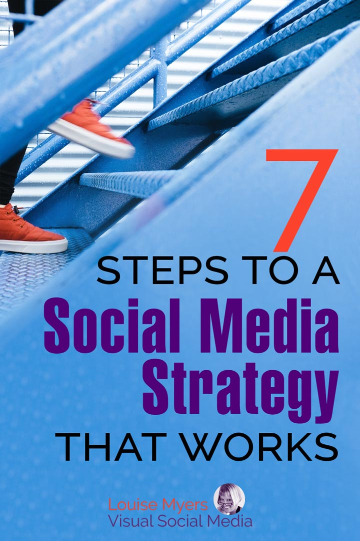 blue stairs with text 7 steps to social media strategy.