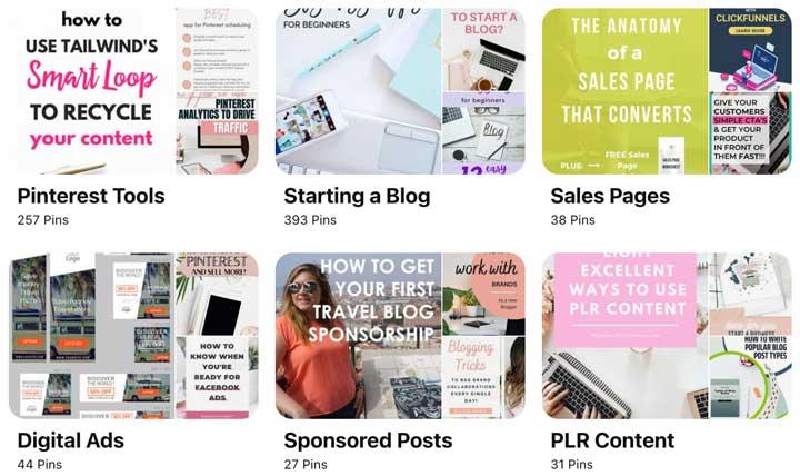 screenshot of Pinterest board ideas for bloggers.