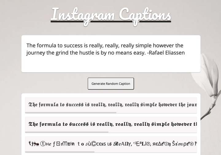 ig fonts instagram caption generator screenshot.