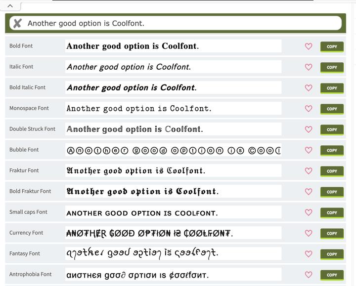CoolFont Instagram font generator app has the best fonts.