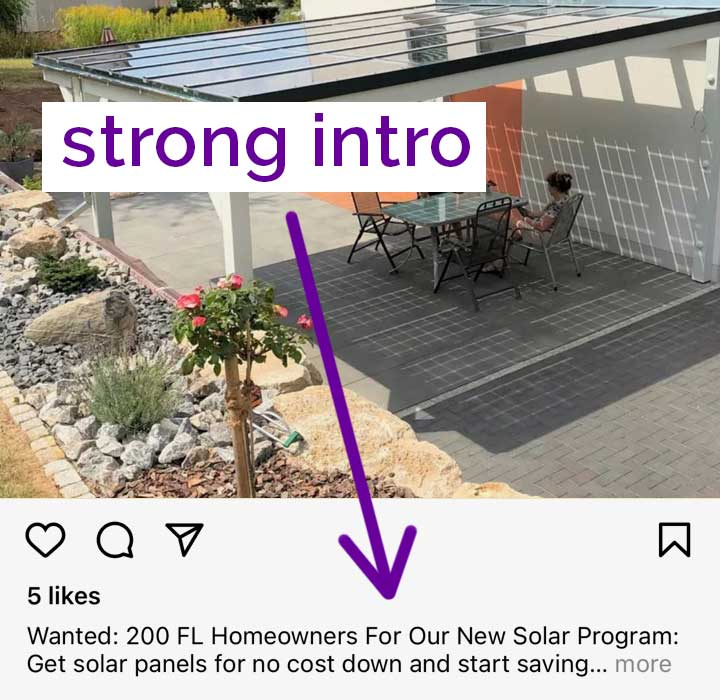 screenshot of instagram caption with strong first sentence.