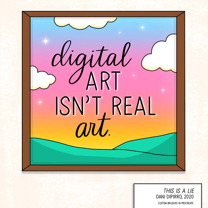 framed art drawing with words about digital art.