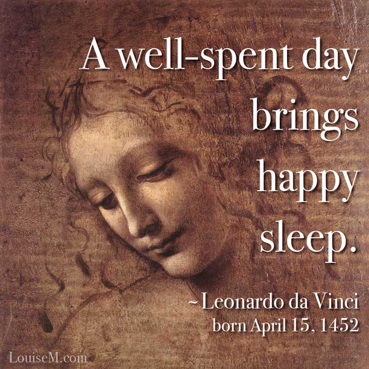 leonardo da vinci art with quote and his birthday on it.