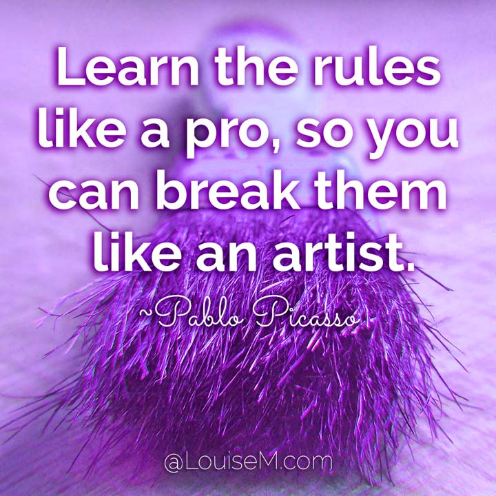 picasso art quote about breaking rules with purple paintbrush.