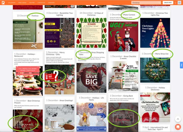 screenshot of christmas themed graphics for engagement and sales.