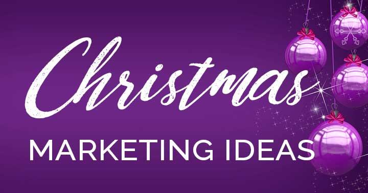 Christmas marketing ideas text on purple ornaments.