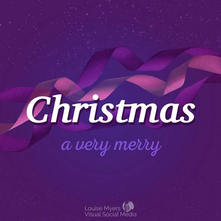 a very merry christmas slogan on purple background with ribbons