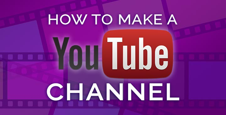 how to create a YouTube channel header image with purple filmstrips.
