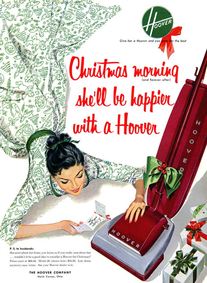 christmas morning shell be happier with hoover vintage ad.
