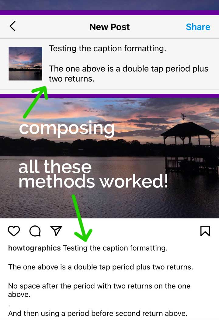 screenshots showing how to make spaces in instagram caption.