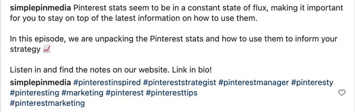 screenshot of instagram caption with line breaks.