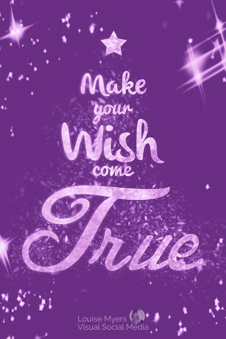 make your wish come true saying on purple christmas tree.