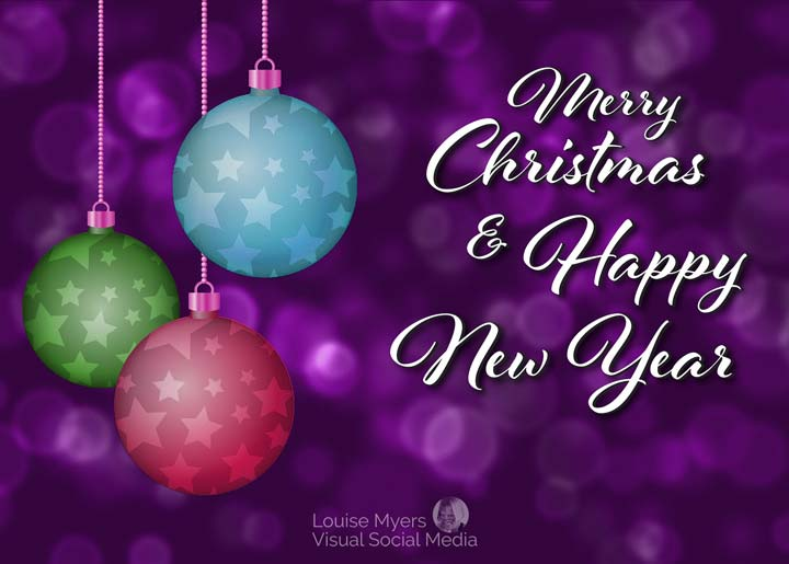 Merry Christmas and Happy New Year slogan on Christmas ornament background.