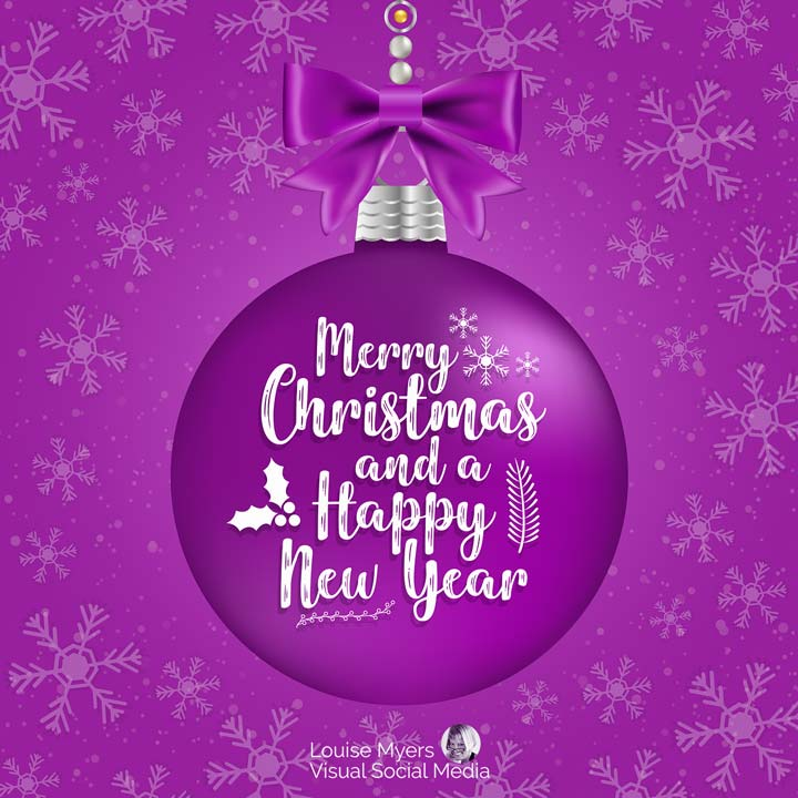 Merry Christmas and Happy New Year slogan on purple Christmas ornament.