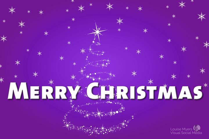 merry christmas words on purple tree background.