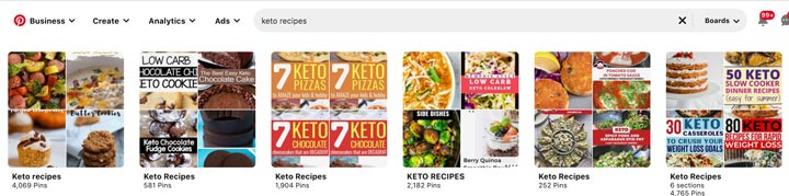 screenshot of pinterest boards appearing in search.