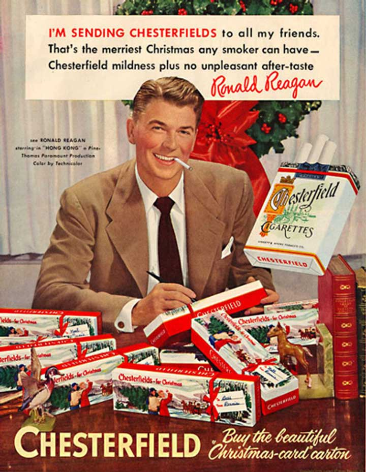 ronald reagan vintage christmas ad chesterfields.