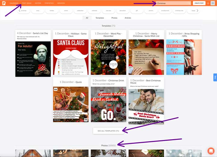 screenshot of search results for christmas themed graphics and photos.