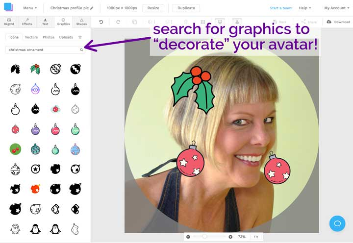 screenshot of creating christmas themed profile picture in snappa design tool.