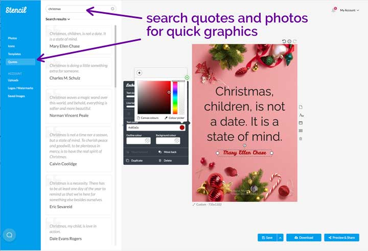 screenshot showing how to make christmas picture quotes in stencil.