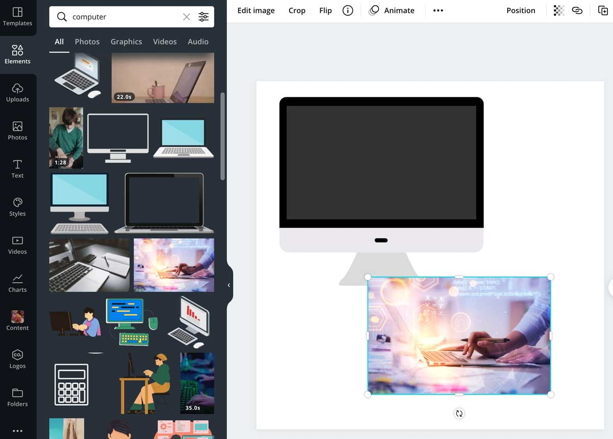 screenshot of the elements added to the design in canva.