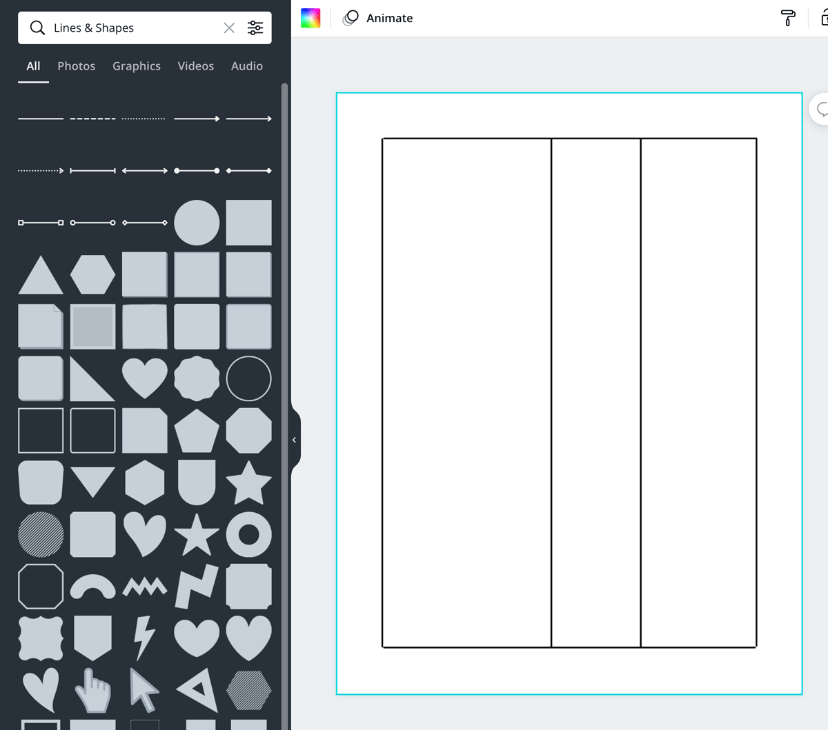 screenshot shows how to make columns for your table with lines.