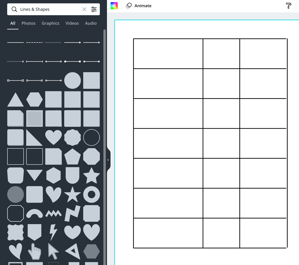 screenshot shows how to make rows with lines.