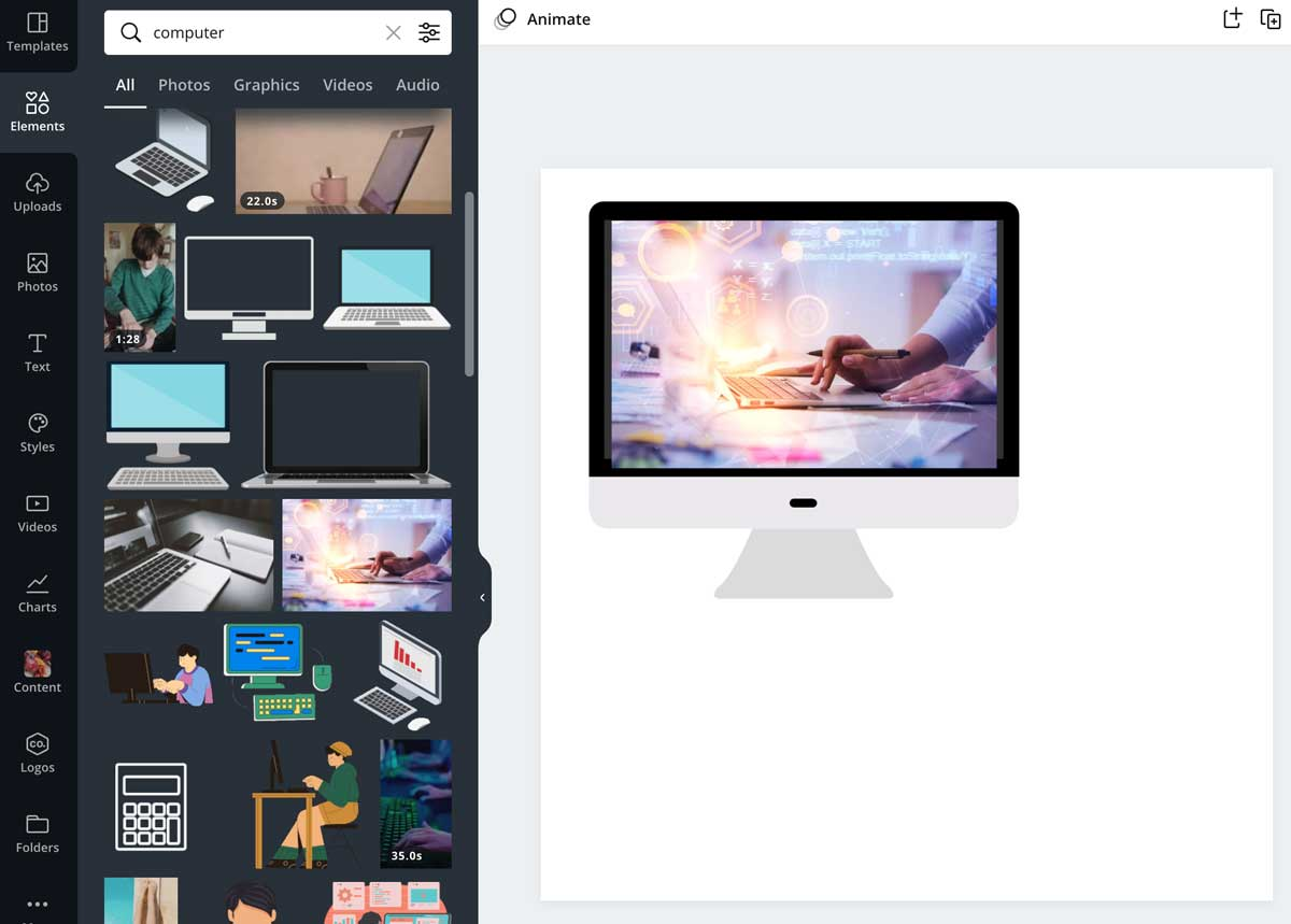 screenshot of elements ready to be grouped in canva.