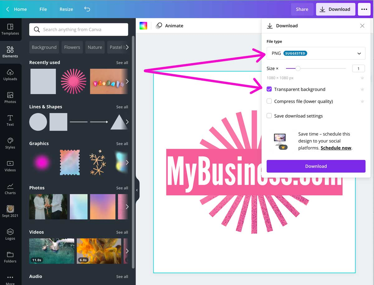 screenshot showing how to download logo art with transparent background in canva.