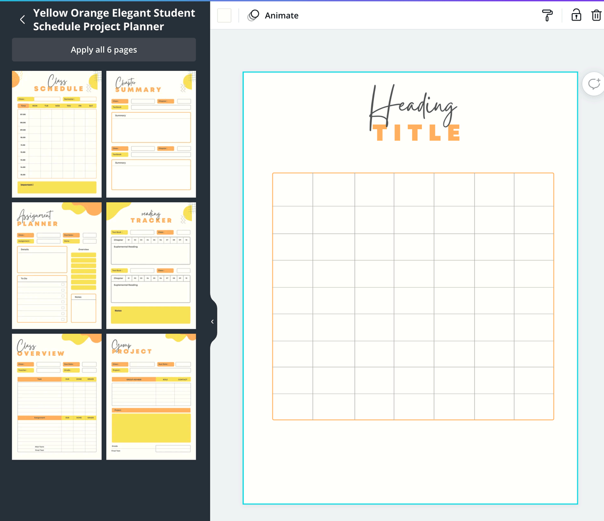 screenshot shows how to base a table on a calendar template in canva.