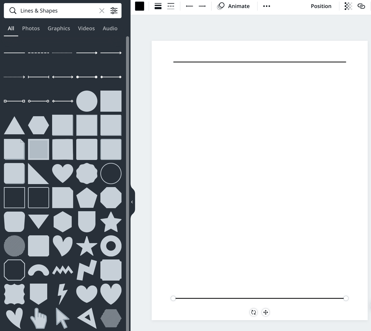 screenshot shows how to start a table in canva with lines.