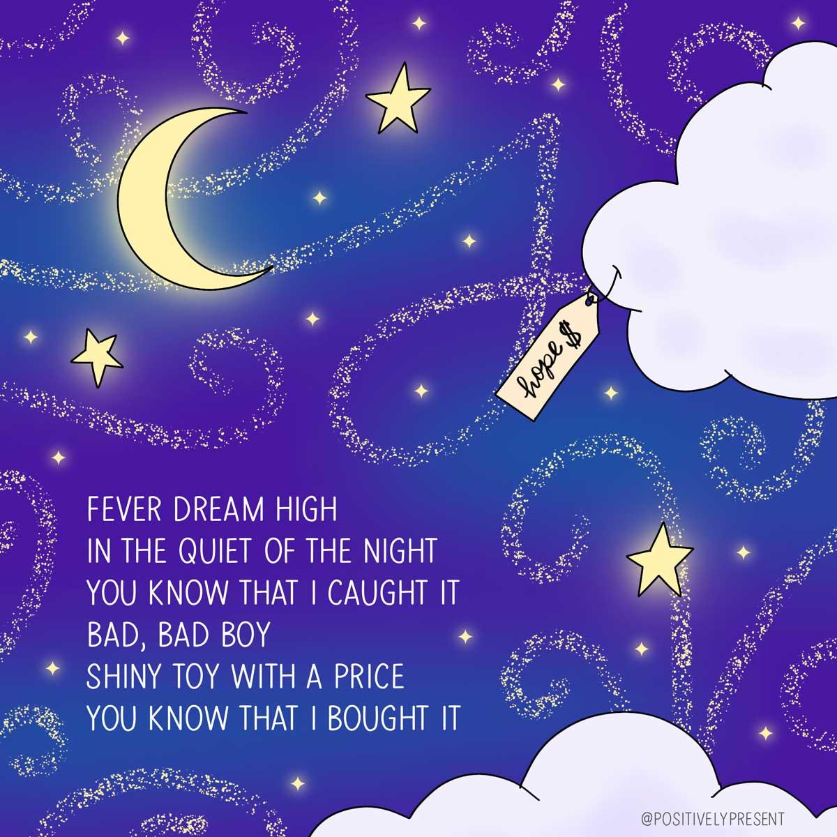 cruel summer taylor swift lyrics on starry night sky artwork.