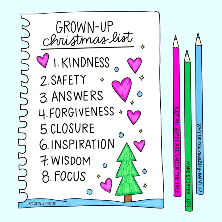 picture quote says grownup christmas list.