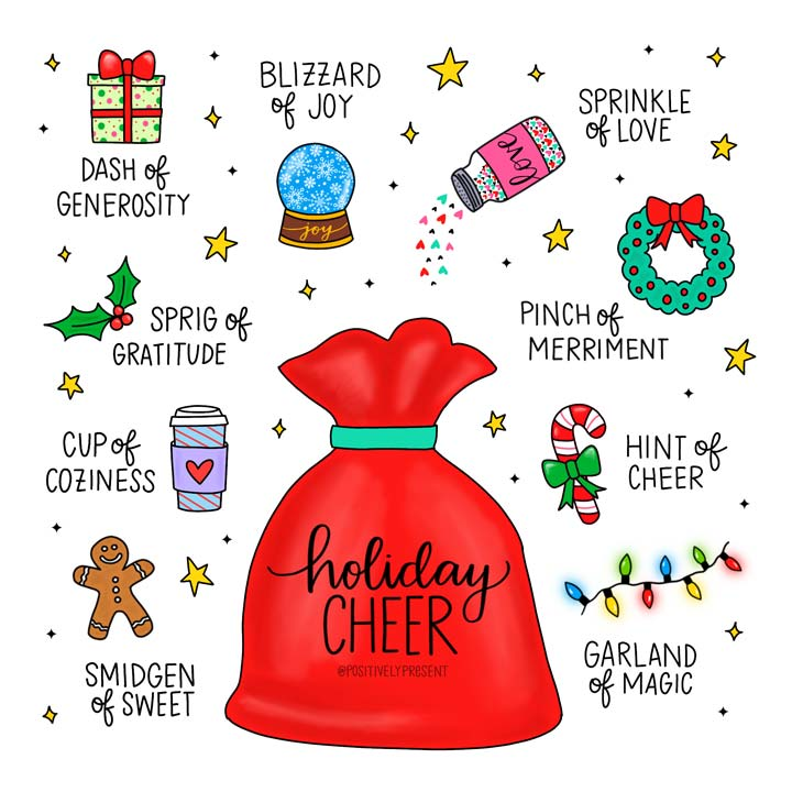 holiday cheer christmas quote with santa sack.